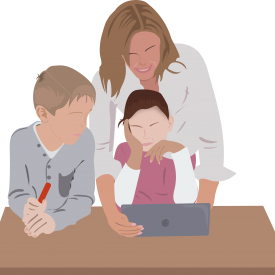 A day care worker teaching two kids on a laptop